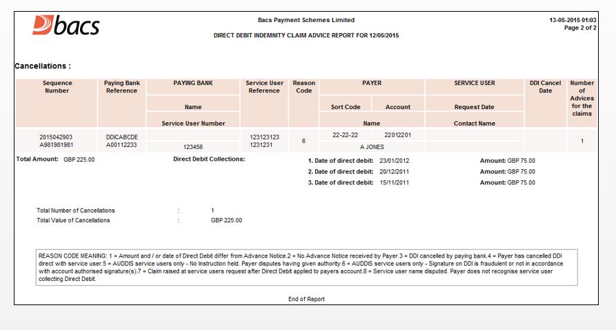 Box Image The Direct Debit Indemnity Claim Advice Report (DDICA)